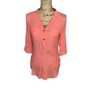 BCX Blouse Top XS 3/4 Roll Tab Sleeve Pink Tunic